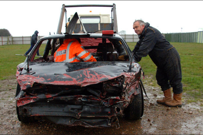 There's nothing comfortable about getting in and out of banger racing cars with their welded ...